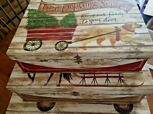 """Punch Studio """"Oh What Fun"""" Large Nesting Boxes-New-Set of 3"""