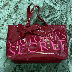 Victorias Secret Red Patent Weekender Beach X-Large Bow Accent Tote Bag NEW