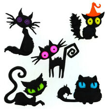 5 SPOOKY BLACK CAT BUTTONS! GOTHIC EMILY HALLOWEEN GOTH KITTY WITCH LENORE PAGAN
