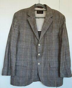 Loro piana 100% Linen Light Brown Plaid Tweed Jacket Blazer Sz 56 Like New