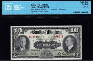 1935 Bank of Montreal $10 CCCS VF30