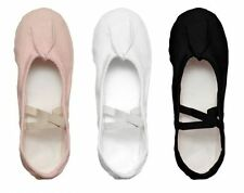 Canvas Split Sole Ballet Slippers Dance Shoes Black n White n Pink All Sizes
