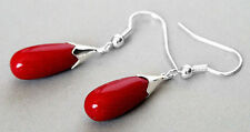 ELEGANT Coral Waterdrop Dangle Earrings 925 Sterling Silver Women Ear Drop