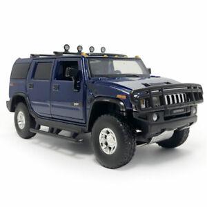 1:32 2005 Hummer H2 SUV Model Car Diecast Toy Vehicle Kids Gift Sound Light Blue