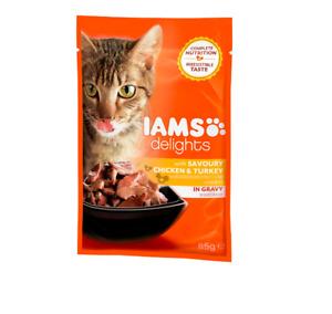 IAMS Delights Savoury Chicken & Turkey in Gravy Packet  Cat Pet Food 85g