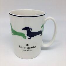 Kate Spade Lenox Wickford Dachshund Dog Coffee Mug Navy Blue Green Silhouette