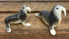 2 Vintage Bradley Sea Lion Walrus Miniature Bone China Figurines