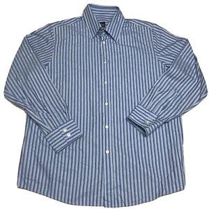 Men's Boss Hugo Boss Blue White Striped Diamond Button Down Dress Shirt Size 2XL
