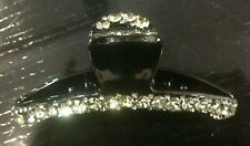 New Large Black With Clear Crystal  5''  Hair Claw Clip