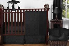 Luxury Designer Unisex Black Minky Dot Bumperless Baby Girl Boy Crib Bedding Set