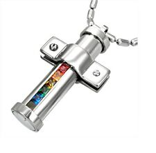 Gay Lesbian Rainbow Pride Cross Crucifix Round Stainless Steel Pendant Necklace