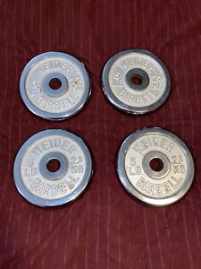 """Lot of 4 Vintage Weider 5lbs Standard Weight Plate CHROME 1"""" Hole 20lbs Total"""