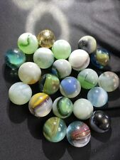 22 Antique Glass Marbles Akro Agate Corkscrew Target/Shooters