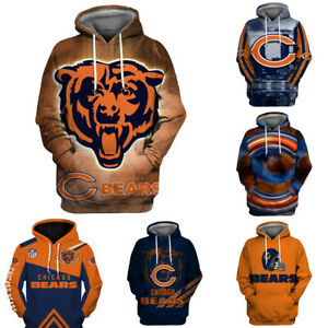 Chicago Bears Pullover Football Hoodie 3D Sports Hooded Sweatshirt Casual Jacket