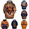 Chicago Bears Pullover Football Hoodie 3D Sports Hooded Sweatshirt Casual Jacket