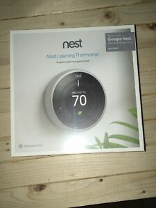 Nest 3rd Generation Learning White Programmable Thermostat. Unopened