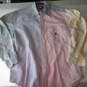 MENS VTG Tommy Hilfiger Color Block Striped Button Up Shirt HIP HOP 90s sz M ++