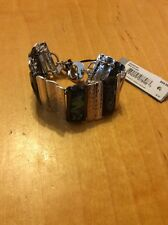 $68 Robert Lee Morris Hammered Toggle Bracelet Silver And Green Stone MA-33