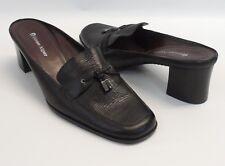 "Womens Etienne Aigner Mule Tassel Black Leather 2 1/2"" Heels Shoes Size 8.5 M"