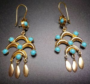 18k Chandelier Earrings With Turquoise. 4.1 Grams