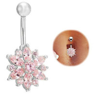 Fashion Crystal Flower Navel Bars Belly Button Ring Body Piercing Jewellery New