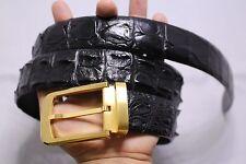 WITHOUT JOINTED-Black Genuine Alligator, Crocodile Leather Skin Men's Belt #01