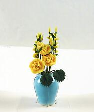 Dollhouse Miniature Yellow Roses Bouquet in Aqua Vase, A118