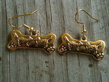 Slightly Curved Bone with 2 Dogs Gold Plated Lead Free Pewter Earrings