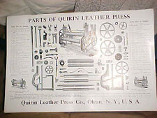 ca. 1910 Parts Poster for the Quirin Leather Press, which was made  in Olean, NY
