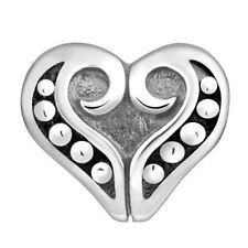 Lovelinks Bead Sterling Silver, Heart Inset With Silver Dots Charm Jewelry TT458