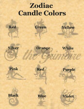 ZODIAC CANDLE CORRESPONDENCES, Book of Shadows Spells Pages, Wicca
