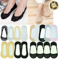 3-12 Pairs Womens Lace Nonslip No Show Boat Liner Invisible Low Cut Socks Loafer