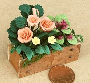 1:12 Scale Mixed Flowers & Plants In A Wooden Window Box Tumdee Dolls House