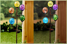 Solar Powered 5-Light Colorful Glass Globes Garden Yard Stake Art Outdoor Decor