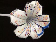 "Castaldo Italian Murano Hand Blown Art Glass Lily Flower Horizontal Vase 24"" L"