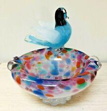 Vintage Murano Glass Bowl with Applied Bird Figurine