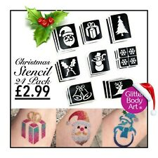 Christmas Glitter Tattoo Stencils - 24 Pack - Christmas Temporary Tattoos Kids
