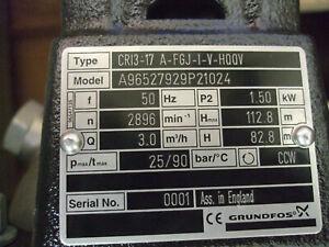 Grundfos Pump CRI 3-17 400v 3PH 1.5Kw 96527929 - 83500749