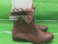 New ladies Tan Lace Combat  Riding Winter Mid-Calf Sexy Boots Size 11