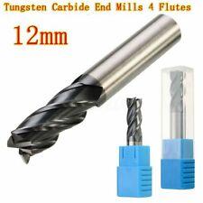 12mm X 75mm Tungsten Steel 4 Flute End Mill Tungsten Carbide Hrc50 Flat Bottom B