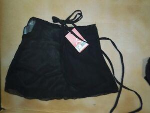 Black sheer chiffon classic wrap skirt Capezio style CC130  adult sizes NWT