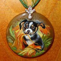 Pendant PUPPY DOG Russian Hand painted Stone signed Gorbachova