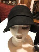 Vintage Black Wool Felt Deco Flapper style  Hat