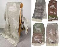 High Quality - Wool Throw - Sheep, Hare, Horse, Spring, Stag, Woodland Patterns