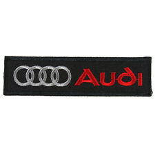 AUDI Embroidered Patch Embroidery Racing Emblem Mark 103x27mm Black