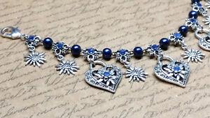 031 Charivari Herzklopfen Perletta Tracht Dirndl Hochzeit silber blau blau