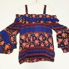 Democracy Top Blue Floral Print Off Shoulder Boho Shirt Sz Large L