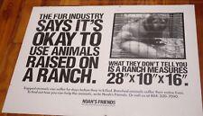 Vtg Animal Activist NOAHS FRIENDS Anti Fur Caged Animal Farms Vegan POSTER