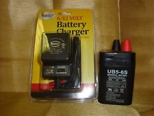 UB5-6S 6VOLT 5AH Rechargeable Sealed 6V 5AMP BATTERY & AC CHARGER w/ LED Lights