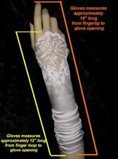 "19"" White Fingerless Stretch Satin Lace Beads Formal Wedding Party Gloves g2wt."